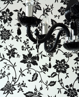 black and white wallpaper pattern. Herald - 17162 - Wallpaper