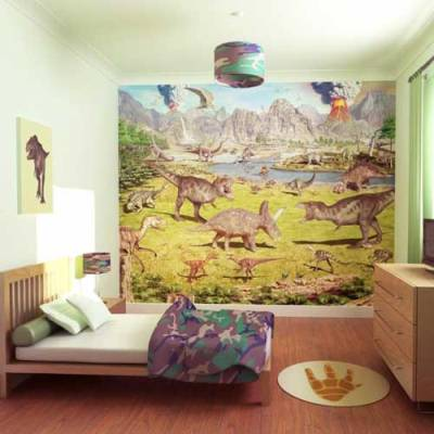 Kids murals wallpapers and borders to buy online for Dinosaur land wallpaper mural